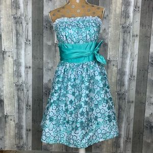 Betsey Johnson Evening Blue/Teal Daisy Dress Sz 10